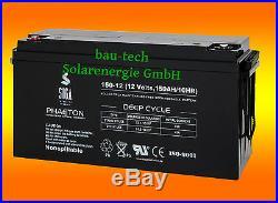 150Ah 12V Phaéton AGM Gel Deep Cycle- Batterie pour Solaire Camping-Car Bateau