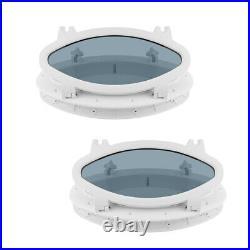 2pcs 15x8 verre trempé de hublot en acier ovale pour bateau Yacht RV