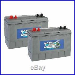 2x Hankook 12V 100Ah Batterie de Decharge Lente Pour Caravane, Bateau XV31