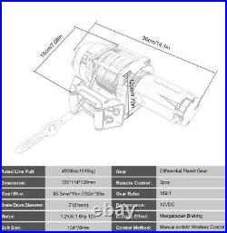 4000lbs 12V Treuil manuel Treuil à câble Treuil à main pour remorque auto bateau