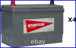 4x Hankook 12V 130Ah Batterie Décharge Lente Pour Caravane, Camping Car Bateau