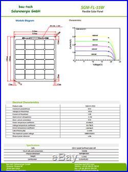 50Watt 12V MONO SEMI Module solaire flexible Panneau solaire pour bateau
