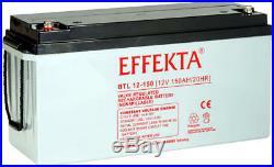 Batterie AGM 150Ah Effekta BTL 12-150 marque allemande. Pour solaire, bateau, CC