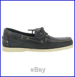 Chaussure bateau Sebago bleu Docksides Portland en cuir cousu main pour homme Se