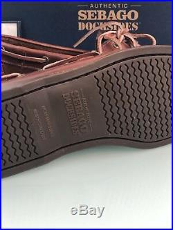 Chaussure de Bateau Sebago Cuir pour Hommes Brune Modèle B72743, 43.5