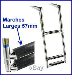 Echelle inox 316 Bateau 3 Marches Télescopique Marches Larges Pour Plate-forme