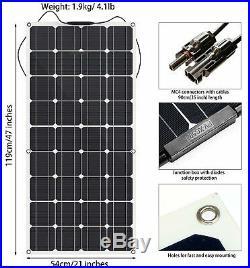 GIARIDE 12V 18V 100W Panneau Solaire Monocristallin pour RV, Bateau, Toit, RV