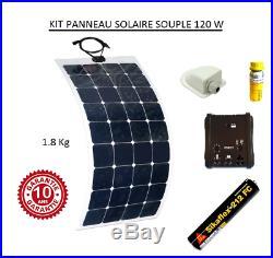 Kit panneau solaire 12v monocristallin souple 120w pour camping car, bateau
