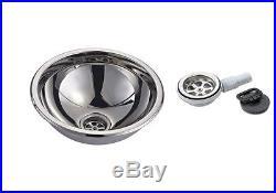 Lavabo Inox Pour Bateau Et Camper Hémisphérique Complet De Vidanger 335 MM
