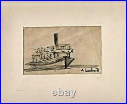 Le bateau pour porquerolles dessin 1937 signé de alfred lombard