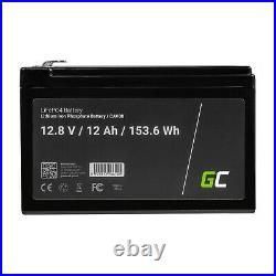 LiFePO4 Batterie BMS 12Ah 12.8V pour Caravane Camping Marine Bateau Solarpanel