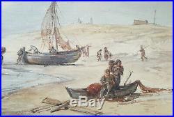 Lot De Aquarelles Anciennes Le Dechargement Des Bateaux Le Depart Pour La Peche