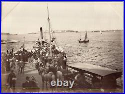 N. D, France, Dinard, Départ du bateau pour Saint-Malo Vintage albumen print