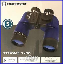 Navyline / Bresser Topaze Jumelles 7x50 Étanche avec Boussole pour Bateau et