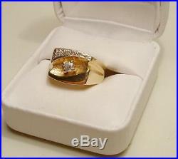 Nouveau 14 Carat or / Véritable Diamant Solitaire pour Homme Ring-Free Bateau