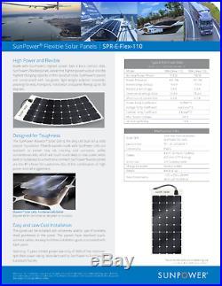 Sunpower Spr-E-Flex 110W 12V Semi-Flexible Panneau Solaire pour Rv's, Bateaux