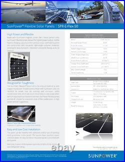 Sunpower Spr-E-Flex 50W 12V Semi-Flexible Panneau Solaire Pour Rv's, Bateaux