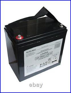 ULTRAMAX 12v 55Ah LiFePO4 Batterie Pour Télécommande Voitures, Bateaux, Avion