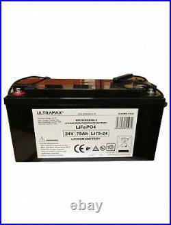 ULTRAMAX 24v 75Ah Lithium LiFePO4 Batterie Pour Marine / Yacht / Bateau
